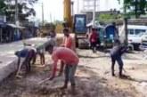 জগন্নাথপুরে আব্দুস সামাদ আজাদ সড়কের নির্মাণ কাজ চলছে