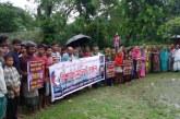 """জগন্নাথপুরে ঘনবসতি এলাকায় """"মোবাইল টাওয়ার"""" স্থাপনের প্রতিবাদে বিশাল মানববন্ধন"""