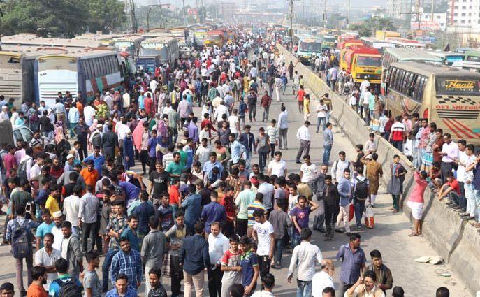 না'গঞ্জে পরিবহন ধর্মঘট: চট্টগ্রাম-সিলেট রুটে বাস চলাচল বন্ধ