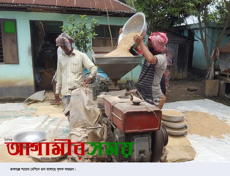রূপগঞ্জে শ্যালো মেশিনে ধান ভাঙ্গানোর ধুম পড়েছে